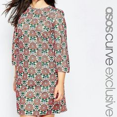 ASOS Curve Shift Dress NWT ASOS Curve Shift Dress...60s floral print...sold out online...UK 24/US 20...keyhole button closure in the back...cute bell sleeves ASOS Curve Dresses Long Sleeve