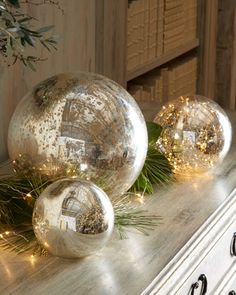 Mercury Glass Spheres at Horchow. try with clear light covers and mercury glass spraypaint Silver Christmas, Noel Christmas, Christmas Colors, All Things Christmas, Vintage Christmas, Christmas Bulbs, Christmas Inspiration, Xmas Decorations, Holiday Decor