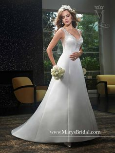 A-line satin bridal gown with V-neck, embroidery, crystal buttons on illusion back, and chapel train.