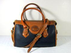 Vintage DOONEY & BOURKE Doctor Bag DR. Purse in Black/Tan   by LavenderGardenCottag