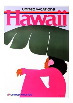 Vintage Poster - Hawaii - Travel - United Airlines - Summer 1985