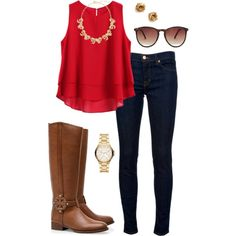 Fall preppy outfit by perfectlypreppy15 on Polyvore featuring polyvore, fashion, style, J Brand, Tory Burch, Michael Kors, Kate Spade, J.Crew and MANGO