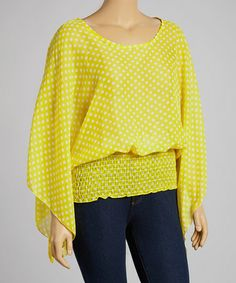 Another great find on #zulily! Yellow Sheer Polka Dot Smocked Top - Plus #zulilyfinds
