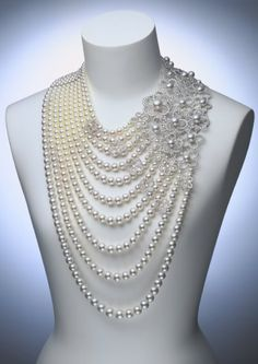 Absolutely Stunning Extravagant Pearl Jewelry For Traditional Engagement Ceremony.Eye Shades, MikiMoto Jewelry and Eyes Makeup - Cris Figueired♥This necklace would work well with a high necked dark colored top with a deep plunging back.This is perfect f Pearl Jewelry, Wedding Jewelry, Beaded Jewelry, Pearl Necklace, Jewelry Necklaces, Beaded Necklace, Jewlery, Topaz Jewelry, Chanel Jewelry