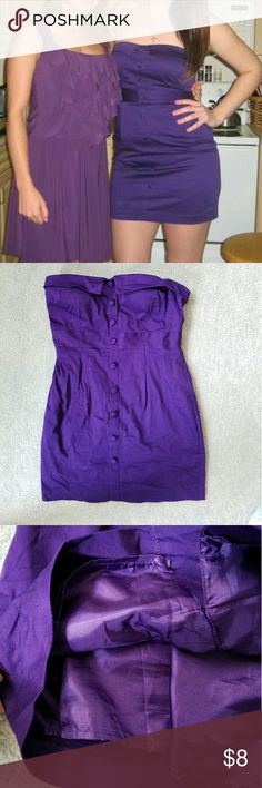 Forever21 purple strapless dreas Purple Forever21 strapless dress. worn once, air dried which caused wrinkles but easily removed with steamer. satin inside. comfortable dress. Forever 21 Dresses Mini