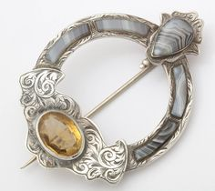 Antique Scottish Cora Brooch of Montrose Agate and Cairngorm