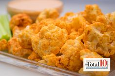 Total 10 Crispy Spicy Buffalo Cauliflower: Mix cauliflower with spices to make this snack stand out.