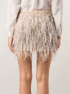 Haute Hippie Ponte Embroidered Feathers Skirt - Tootsies - Farfetch.com