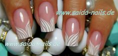 Nail Art - French tip, white, floural, elegant #nail #nails #nailart