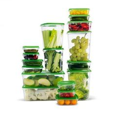 Amazon.com: Ikea Foodsaver Food Containers, Set of 17, Clear, Green BPA Free: Kitchen & Dining