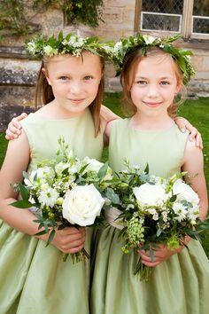 sweet flower girls in green. dresses designed by littleeglantine.com