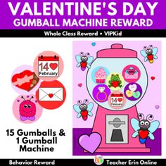 This Valentine's Day themed gumball machine student incentive adds a new twist to your gumball machine reward! Each gumball features a Valentine's Day themed gumball to reward your students. Your students will LOVE adding these fun gumballs to the machine as their earn their reward, including heart... Behavior Rewards, Classroom Rewards, Behavior Management, Gumball Image, Whole Class Rewards, Student Incentives, Valentine's Day Letter, Reward Yourself, Reward System