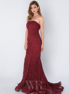 Zepherina Lace Gown. A stunning full length dress by Jadore. A strapless style featuring a fitted silhouette and flares out from the mid-thigh.