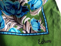 Floral Vintage Echo Scarf, Dark Olive Green, Turquoise, Taupe by CrazyVintageBoutique on Etsy