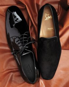 "Gucci derby shoes and Christian Louboutin suede ""Dandy Flat"" slippers."