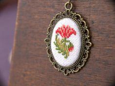 Cross stitch pendant necklace Carnation от BlackCatHandmadeShop