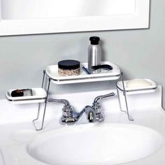 Over the faucet shelf for small counters. 33 things your small space needs!!