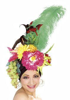 Carmen Miranda hat; fruit, feathers, butterflies, flowers...