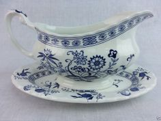 Vintage J & G Meakin Blue Nordic Gravy boat and tray England Ironstone  #MeakinJG