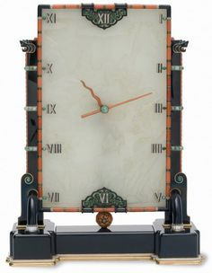 Art Decó Carved Onyx, Jade, Diamond, Coral, Pearl, and Gold Pendulum Clock (1927) by jeweler Louis Cartier and watchmaker Couët Maurice