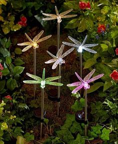 6 LIGHT UP SOLAR DRAGONFLY YARD STAKES STAKE SET GARDEN YARD OUTDOOR HOME DECOR #TheBigDiscount