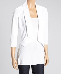 Take a look at the White V-Cut Blazer on #zulily today!