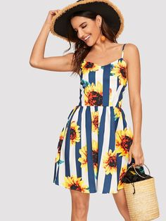 Cute and Boho Cami Floral and Striped Flared Regular Fit Spaghetti Strap Sleeveless Natural Multicolor Short Length Sunflower & Stripe Print Cami Dress Sunflower Dress, Sunflower Clothing, Casual Dresses, Summer Dresses, Dresses Dresses, Floral Dresses, Party Dresses, Natural Clothing, Striped Fabrics