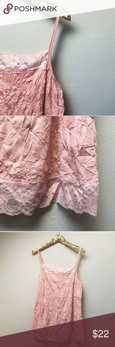 Plus // Lace-Trimmed Tank Top Beautiful blush pink tank top/camisole, featuring adjustable straps, crinkled material, and lace trim at the neckline and hem. Great for layering! Worn once and in like-new condition.  ✅Bundle & Save 🚫Trades 🚫Off-Posh 🚫Modeling  💞Shop with ease; I'm a Posh Ambassador.💞 Maurices Tops Tank Tops