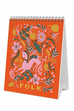 "Flip calendar. Includes 12 hand-painted illustrations inspired by Mexican folk art, Japanese textiles, pastels and more.    Size: 6""×7.5""   2017 Folk Calendar by Rifle Paper Co. . Home & Gifts - Gifts - Stationery & Office Austin, Texas"