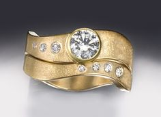Passion #10: Dual Wave Sculpture engagement ring set with 18k, .5ct diamonds for center and 7 tiny diamonds above/below.