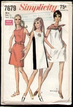Vintage Simplicity 7679 Misses Shift Dress with Square Armholes Plus Belt Sewing Pattern Size 12 Bust 34 Mod Fashion, 1960s Fashion, Vintage Fashion, Sporty Fashion, Classy Fashion, Fashion Women, Fashion Tips, Robes Vintage, Vintage Dresses