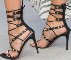 "Despite the outfit fails, Kimberley's Valentino ""Rockstud"" lace up sandals shone on the carpet"