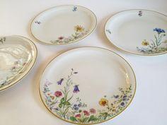 4 MEADOW FLOWERS salad plates, Franconia Krautheim dinnerware scene A, C, F, K 1960s.