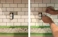 How To Install A Subway Tile Kitchen Backsplash John placing cut subway tile around outlet on kitchen backsplash Subway Tile Kitchen, Subway Tile Backsplash, Wall Tile, Kitchen Colors, Kitchen Design, Kitchen Countertops, Kitchen Backsplash Diy, Kitchen Cabinets, Backsplash Ideas