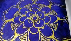 Gold Mandala Wall Art on 8 x 8' Purple Wooden by MountainTopArts