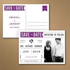 Banner Date Photo Save the Date Postcard 40% OFF  |  http://mediaplus.carlsoncraft.com/Wedding/Save-the-Dates/WA-WA32983NFC-Banner-Date--Photo-Save-the-Date-Postcard.pro  |  WA32983NFC It's going to be a banner day! Tell everyone you've set your wedding date by sending this vintage typography save the date postcard with banner designs in your choice of colors.