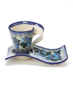Take a look at this Navy Blue Floral Coffee & Cake Set by Lidia's Polish Pottery on #zulily today!