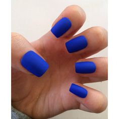 A set of 20 hand painted fake nails in 10 different sizes (2 of each size). They are a royal blue color and have 2 coats of matte top coat. glue not included