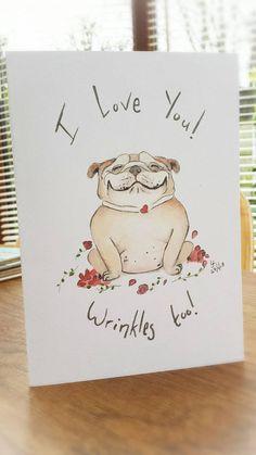 Bulldog Card British Love Heart Roses Funny Greetings Dog