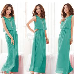 Bohemia Style Summer Women Lady Sexy Chiffon Dress Beach Kleid Light Green, unit price of $10.20 only - Yesfor.com