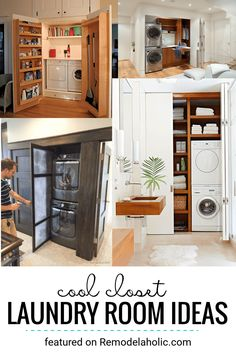Closet Laundry Rooms And Built In Laundry Room Ideas Featured On Remodelaholic.com #closetlaundryroom #laundrycloset #smalllaundryrooms #laundryideas Laundry Room Closet, Room, Yellow Cabinets, Closet Room Organizer, Room Remodeling, Hidden Laundry, Room Closet, Closet Hacks Organizing, Laundry