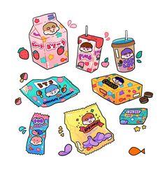 bts fanart   ♡ <<< feel like shining should be some mochi or marshmallow Cute Food Drawings, Cute Kawaii Drawings, Kawaii Art, Printable Stickers, Cute Stickers, Wow Art, Cute Doodles, Kpop Fanart, Copics