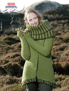 Cardigan with snood Scarf Juliette in Adriafil Charme - Downloadable PDF