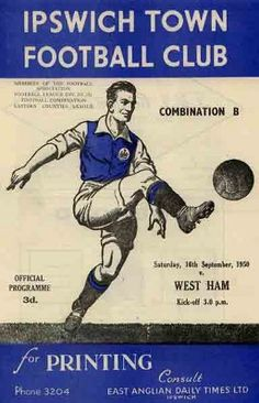 1950-51 Reserves - whuprogrammes Pure Football, British Football, Football Fixtures, Ipswich Town Fc, Rotherham United, Doncaster Rovers, Northampton Town, Exeter City, City H