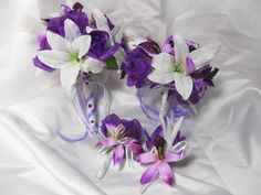 . wedding bouquet purple lily | Wedding Bouquet And Boutonniere Bridal Package Tropical Beach Purple ...