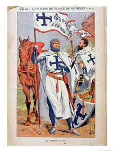 """The Knights Templar, Illustration from """"Histoire De France"""" by Jules Michelet circa 1900"""