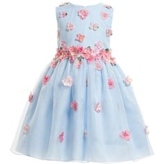 Lesy Luxury Flower Blue Silk Dress with Pink Flowers ($535) ❤ liked on Polyvore featuring baby, kids and kids clothes