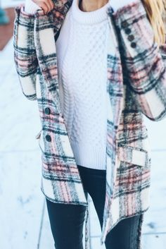 fisherman sweater and plaid coat / Prosecco and Plaid