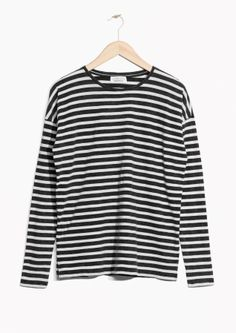 & Other Stories image 2 of Striped Cotton Sweater  in Black