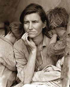 The famous picture of the woman of the Great Depression. The photograph was taken in 1936 by Dorothea Lange. This picture has become synonymous with the Great Depression.
